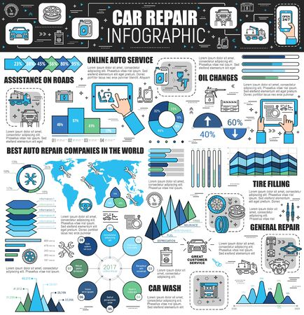 Car repair infographic with vector auto service world map, charts and graphs of spare parts. Vehicle maintenance, motor oil change and wheel tire fitting, car wash and towing service thin line diagram
