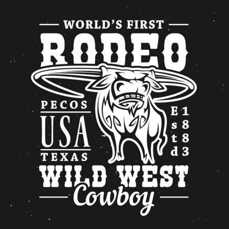 Rodeo bull t-shirt print of longhorn cow or ox on black background with vector lettering Wild West Cowboy. Apparel fashion and uniform jersey of rodeo sport design Banque d'images - 128446159