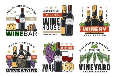 Wine shop and winery vector icons with wine bottles, glasses and grapes, champagne, cheese, bread and vineyard vines. Alcohol drink and snack food design Illustration