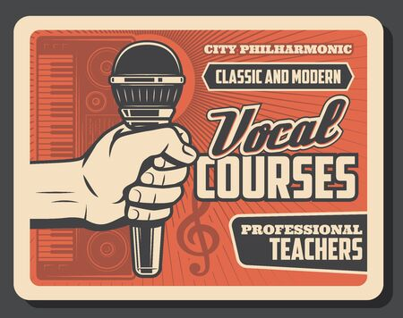 Vocal courses and choir lessons vector design of hand with microphone and synthesizer, musical notes and treble clef. Retro poster of music education and musician school themes