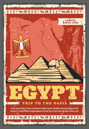 Egypt travel landmarks of Giza pyramids, Sphinx and ancient Egyptian pharaoh vector design of tourism. Great pyramids with map and heraldic eagle of Egypt, Ankh, eye of Horus and Anubis hieroglyphics