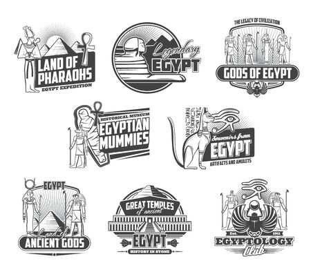 Ancient Egypt icons of Egyptian religion symbols and travel landmarks. Vector pharaoh pyramids of Giza, sphinxes, mummy and Gods, eye of Horus, Ankh symbol and statue of cat, great temple and scarab