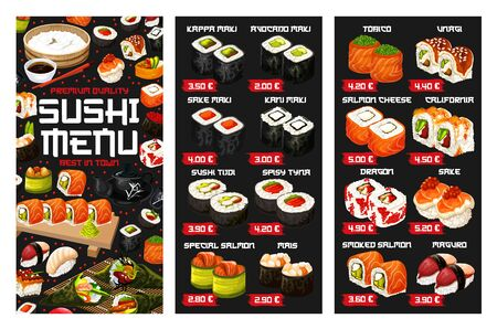 Sushi menu vector template of Japanese cuisine seafood and rice dishes. Asian salmon and tuna sushi rolls, seaweed and shrimp nigiri, prawn temaki and avocado maki with chopsticks, wasabi, soy sauces