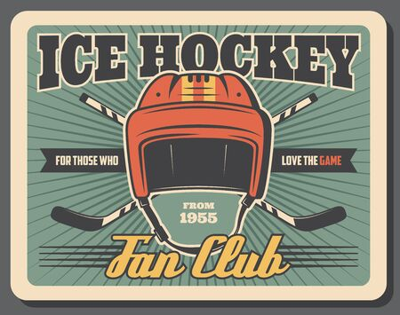 Ice hockey game sport equipment vector design. Sport team players sticks and goalie helmet retro poster, sport club promo, sporting competition or championship match themes