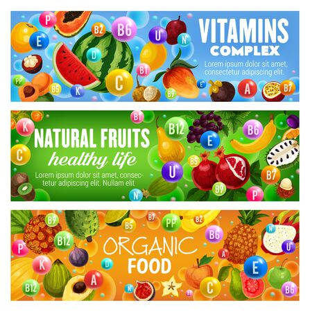 Natural fruit vitamins complex vector banners of organic food design. Tropical berries of mango, pineapple and papaya, exotic pandan, mangosten and banana, apple, fig and watermelon, soursop, grapes