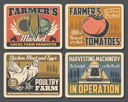 Vegetable, animal, poultry and crop farm retro posters of agriculture, farming and harvesting machinery vector design. Tractor, wheat field and rooster, chicken, corn and sunflower, tomato and cabbage