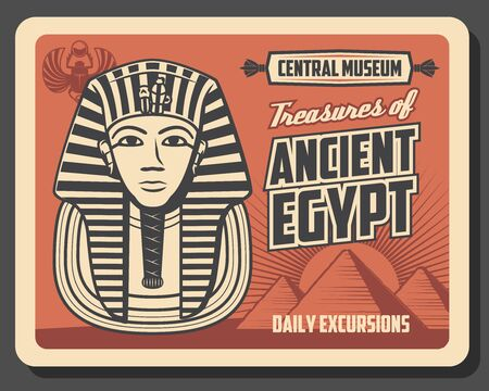 Ancient Egypt pharaoh Tutankhamen with pyramids of Giza and scarab amulet vector design of Egyptian travel landmark. Gold death mask with royal insignia of cobra and vulture, museum promotion poster