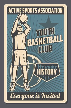 Basketball sport game player throwing ball into basket vector design. Team player with uniform jersey and sneakers on court, sporting competition match of youth league championship, sport club poster