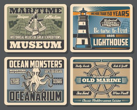 Nautical retro posters with vector sea ships, sailing boats and helm, marine lighthouse, octopus and vintage sextant. Oceanarium ocean monsters, maritime museum and seafood restaurant design Иллюстрация
