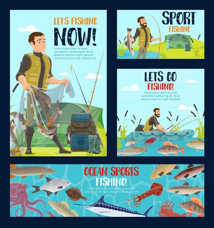 Fishing sport vector design of fisherman with fishing rods, boat, net and fish. Fisher or angler with hook, tackle and bait, river carp, salmon and pike, ocean perch, marlin, sea bass and tent 写真素材 - 128513635