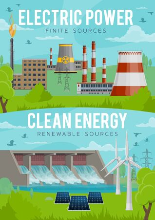 Green energy, power generation industry and eco electricity production. Vector nuclear powerplant, solar battery and electric windmills, renewable hydro and thermal energy sources in nature ecosystem