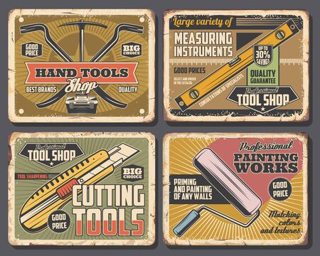 Home renovation decor and painting works service, house repair tools shop vintage posters. Vector hand work tools, cutter and nail puller or pickaxe, rulers and handyman carpentry instrument toolbox