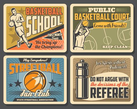 Basketball league tournament, streetball sport championship vintage posters. Vector basketball school and public game court, fan club team player and motivation quote, street sport victory stars Ilustração