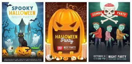 Halloween night holiday, trick or treat party with zombie and monsters. Vector Halloween pumpkin lantern candles on cemetery graveyard, witch cat with ghosts, bats and scary skull in spider web