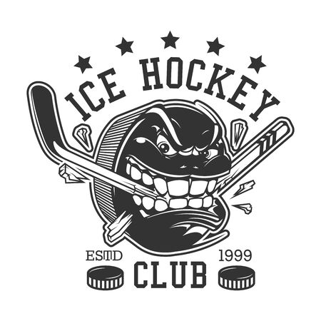 Ice hockey club or college league t-shirt print template. Vector ice hockey sport team mascot badge of rage puck breaking hockey stick with teeth, championship or victory cup tournament game stars Çizim