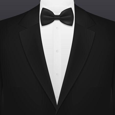 Abito da uomo nero da fumo con modello di sfondo vuoto cravatta. Vector VIP party, matrimonio o moda e smoking per eventi aziendali con fiocco nero e camicia bianca, club premium uomo d'affari o gentiluomo