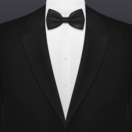 Men black smoking suit with necktie blank background template. Vector VIP party, wedding or fashion and corporate event tuxedo with black bow and white shirt, businessman or gentleman premium club Illusztráció
