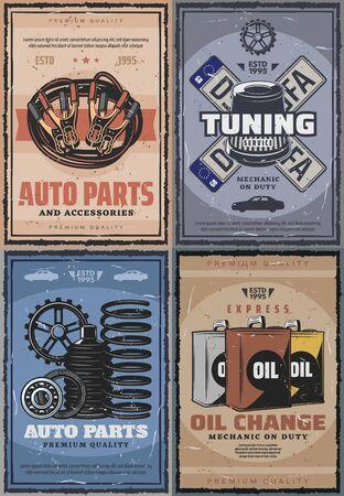 Car service center, diagnostics and mechanic repair garage station vintage posters. Vector auto spare parts shop, car registration plates restoration, engine oil change and battery charge service