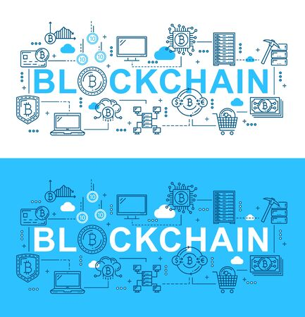 Blockchain digital technology and bitcoin cryptocurrency mining. Vector thin line block chain network, bit coin money wallet and crypto currency transaction security server, electronic finance system Illustration