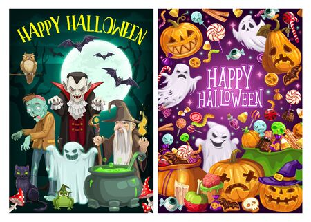Happy Halloween holiday celebration, trick or treat party monster candies. Vector cartoon scary pumpkins, witch ghosts and Dracula vampire with zombie and sorcerer at cemetery