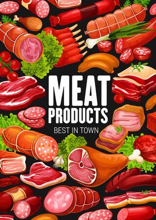 Produits à base de viande et charcuterie, affiche de boucherie. Salami de boucherie de ferme vectorielle et saucisses de cervelat, steak de boeuf et jambon de bacon ou côtes de mouton fumées, gastronomie de boeuf et de porc Vecteurs
