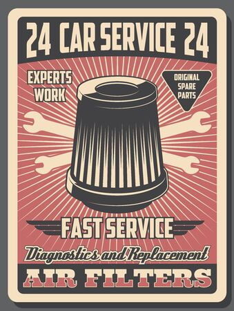 Car service center, diagnostics and mechanic repair garage station. Vector vintage posters of car restoration service, air filters replacement, wheel lug wrenches and automobile spare parts Foto de archivo - 128446180