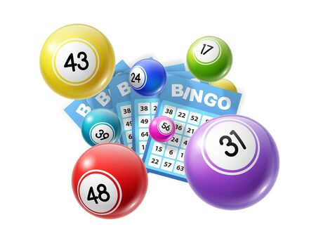 Bingo lotto game balls and lottery cards with lucky numbers. Vector poster for bingo lottery tv show backdrop and lotto win tickets store, gmabling and win chance 일러스트