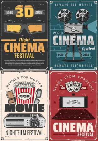Film festival, cinema theater premiere night and movie vintage posters. Vector cinematography movie clapperboard, video camera and cinema 3D glasses, movie star award, popcorn and cinema projector Illustration