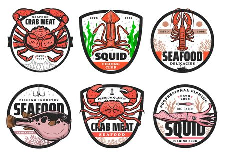 Fishing club badges, seafood fishery shop and fish catch industry icons. Vector fugu puffer fish on hook, lobster crab in fish net, squid and crayfish, premium quality professional fishing club