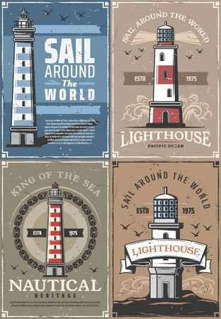Nautical lighthouse, seafarer marine adventure and sailing heritage vintage posters. Vector retro ocean or sea beacon on shore with light beams and seagulls in blue waves in ship chain