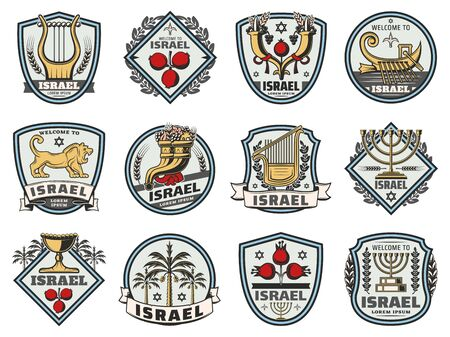 Israel travel and welcome badges, traditional Jewish heraldic symbols. Vector Judaism religion icons of Hanukkah Menorah, David star and Shofar cornucopia horn, holy grail and and pomegranate