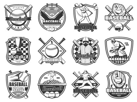 Baseball sport championship, softball team club badge and league tournament game icons. Vector emblems of baseball ball, player quarterback with bat and victory championship cup on arena field