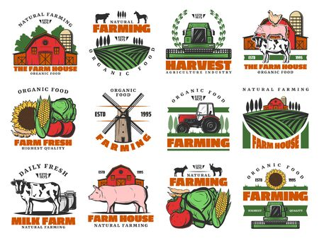 Farm agriculture icons, cattle farming organic food products meat and vegetables. Vector farmhouse wheat and rye mill, farmer tractor on harvest, cow and pig, poultry chicken and dairy products