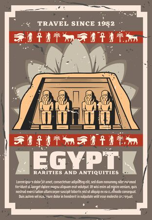 Ancient Egypt historic landmark tours, rarities and antiquities sightseeing travel trips. Vector vintage poster of Ancient Egyptian Pharaoh Great Pyramid of Giza with hieroglyphs and deity god signs