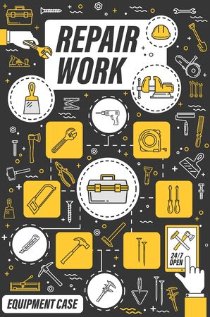 Home repair, house renovation and construction tools. Vector hand tools and building equipment online store thin line poster, carpentry or brickwork, masonry and painting work tools Illustration