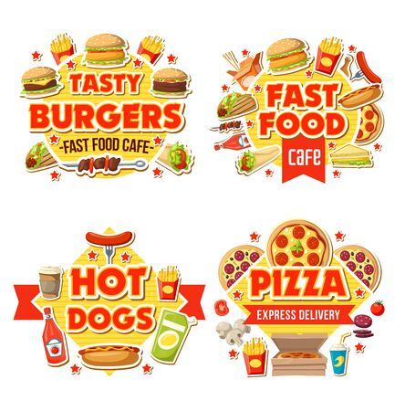 Fast food delivery, cafe and burgers bar menu. Vector fastfood express delivery of hamburger sandwich, pizza and soda drink or coffee, fries and hot dog with cheeseburger and ice cream milkshake