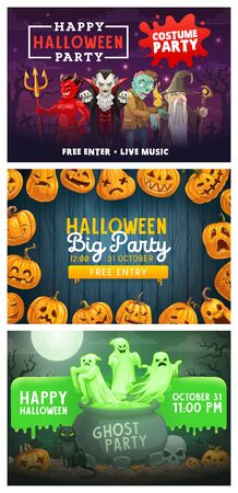 Halloween monsters costume party posters, horror night, Vector Halloween trick or treat holiday pumpkin with candle lanterns, ghosts in which cauldron and dracula with zombie devil on cemetery Ilustração