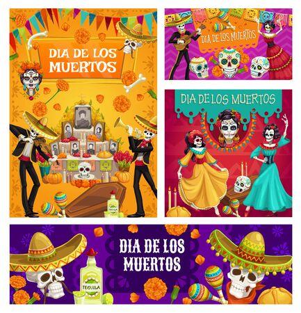 Day of Dead vector sugar skulls, mariachi skeletons and Catrina Calavera, Mexican Dia de los Muertos altar, sombreros and marigold flowers, flag garland, bread and candles. Religion holiday design