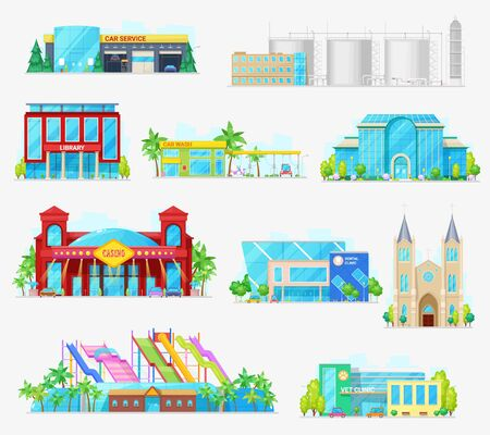 City buildings, industrial, houses and municipal architecture. Vector isolated icons of car wash and service garage, factory and aquapark, veterinary and dental clinic, church and casino buildings 矢量图像