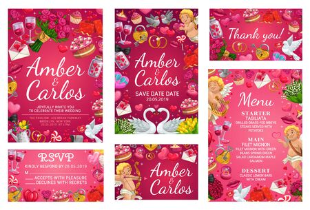 Save the date menu, rsvp card and bride and groom names lettering. Vector bridal attributes and menu template, starter and main courses, desserts. Doves and flowers, swans and hearts, cakes and wine