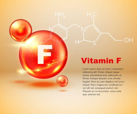 Vitamin F, healthy lifestyle and essential fatty acids poster. Vector vitamin F 3D capsule of essential oil, alpha-linolenic omega 3 and omega 6 chemical formula of fatty acid for body health support