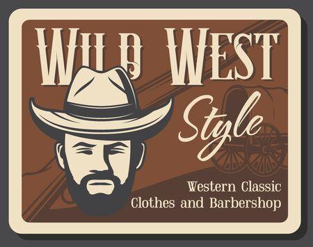 Salon de barbier du Far West, affiche vintage grunge de magasin de vêtements de l'Ouest américain. Tête d'homme de shérif de vecteur dans le chapeau de cowboy, le chariot de cheval indigène ou le chariot de cheval de chariot de roue