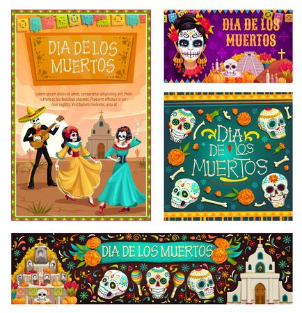 Dia de los Muertos, mexican traditional holiday, Day of Dead celebration. Vector dancing gone people, cartoon skeleton skulls with Mexico ornaments, altar commemorating deceased, church and flowers