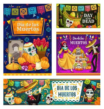 Dia de los Muertos crânes de sucre sur l'autel et bannières vectorielles de squelettes dansants. Jour des morts mexicain mariachi et Catrina avec sombrero, maracas et fleurs de souci, cactus, bougies et banderoles Vecteurs