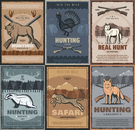 Hunting season, African safari hunt vintage posters of wild animals and hunter ammo. Vector hunt club trophy buffalo, grouse fowl and cheetah, wolf or fox and badger, forest and mountain hunt rifles