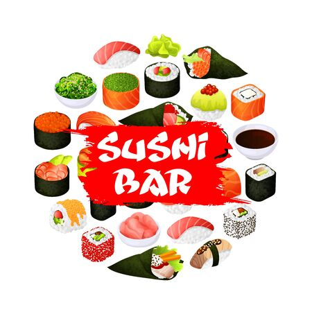 Sushi bar sign, Japanese bar and Asian restaurant menu poster. Vector Japan food fish sushi and seafood rolls, rice, soy and wasabi, ikura caviar and seaweed salad, salmon tempura and eel unagi maki
