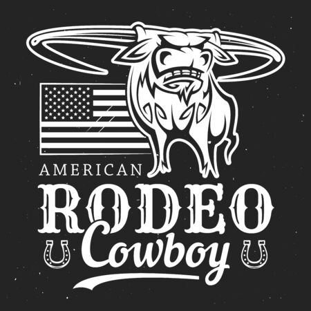 Cowboy rodeo, American Western bull rider sport vintage poster. Vector t-shirt white and black outline label of longhorn bull with cowboy rider lasso, US America flag stars and horseshoe Banque d'images - 128514141