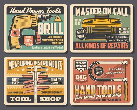 Home repair hand tools shop, house renovation and construction equipment vintage posters. Vector electric drill, measuring instruments and carpentry or metalwork saw, repair master toolbox