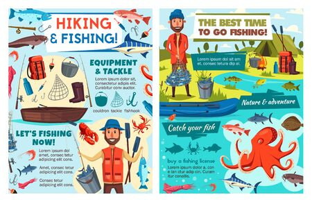 Sea fishing tackles, fish catch lures and fisher equipment. Vector fishing sport and hiking adventure posters, man with rod for seafood octopus and ocean lobster crab, flounder and salmon in fishnet