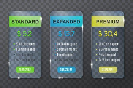 Tabla de precios del plan de suscripción, comparación de precios del sitio web y opciones de compra. Columnas de plan de suscripción transparente de vector Estándar, Ampliado y Premium con características del producto y precio en dólares